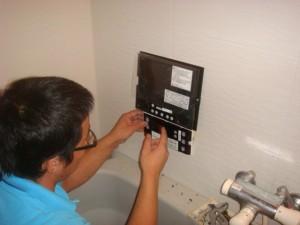 浴室地デジ 取り付け 工事 キッチリと配線を接続