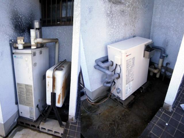 石油給湯器の交換作業