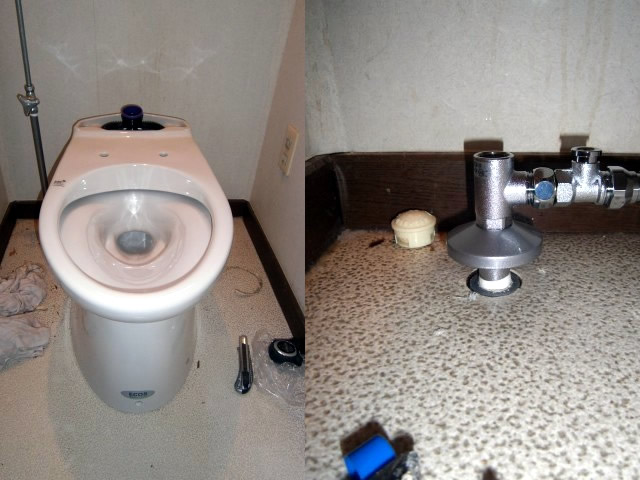 トイレの給水管(止水栓)も交換しました