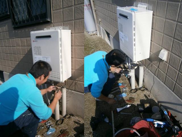 新設の給湯器を取付けて、配管接続作業