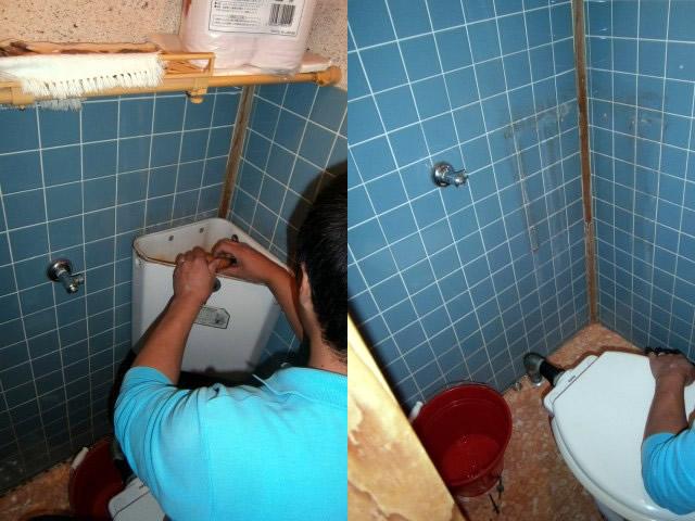 トイレ タンクの取り外し