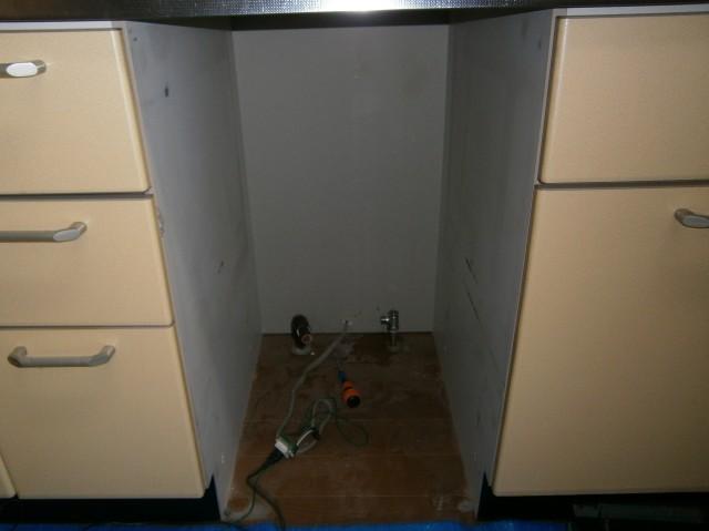 食洗器取替工事 施工事例 名古屋市緑区 撤去中