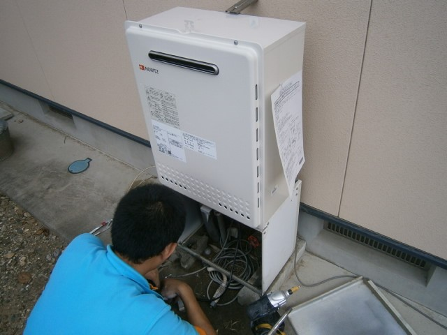 給湯器取替工事 施工事例 豊川市 施工中