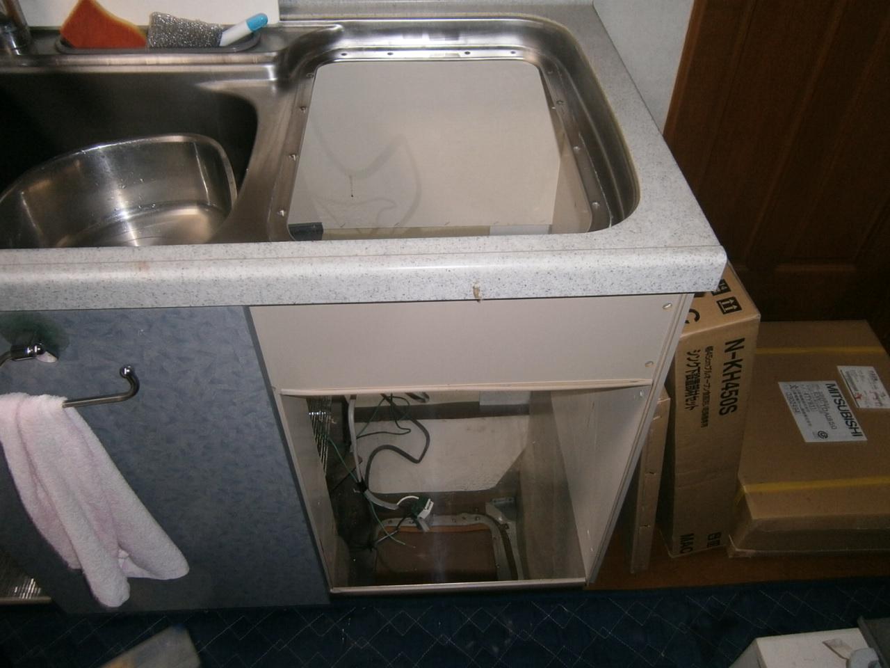 名古屋市天白区 食洗器取替工事 撤去後