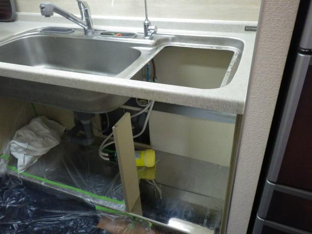 名古屋市中区 食洗機取替工事 撤去後