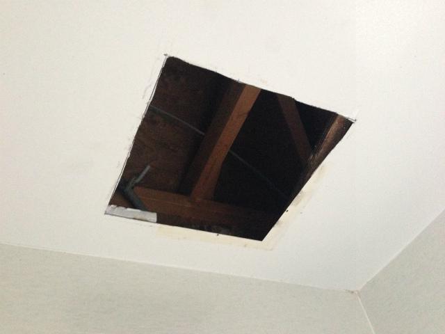 多治見市 浴室暖房換気扇取替工事 天井加工後
