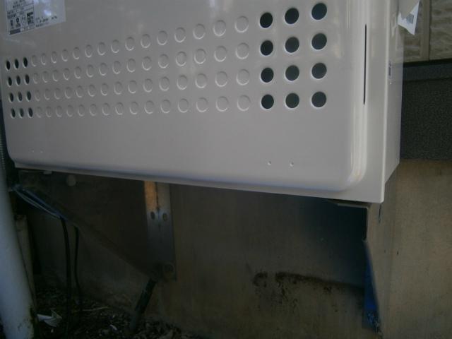 長久手市 ガス給湯器取替工事 据置台調整後