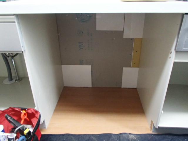ビルトイン食洗機新設工事(豊川市) スペース確保