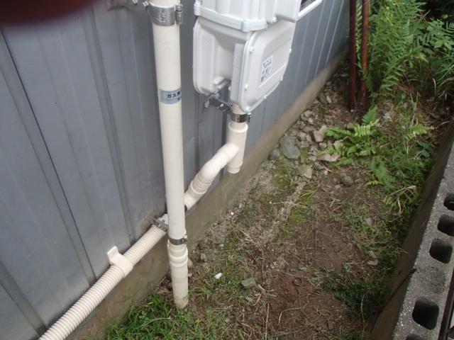 岡崎市赤渋町石油給湯器からノーリツ(NORITZ)ガス給湯器(GQ-2039WS)へ取替工事 ガス延長