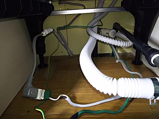 電源、給水、排水接続OK