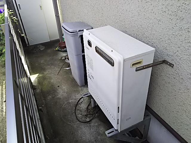 豊橋市据置型設置給湯器取替工事 取替施工前。