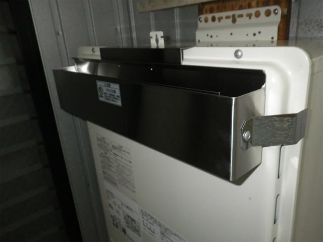 名古屋市東区高所給湯器取替 上方排気アダプター取付完了後。