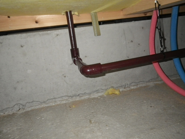 食洗機新規取付工事 排水管新設完了。