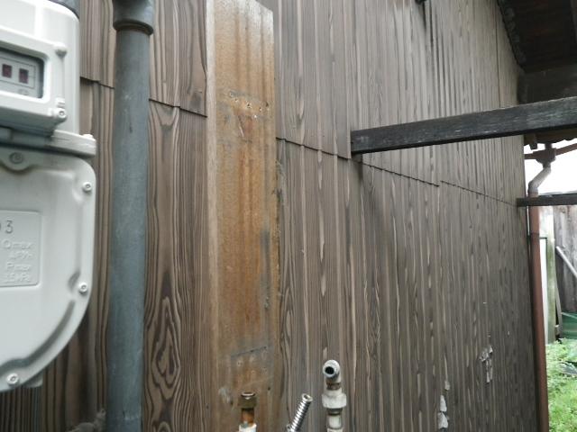 高温差し湯ガス給湯器取替工事 既設給湯器撤去完了後。
