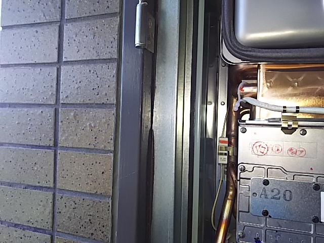 PS扉内設置型ガス給湯器取替工事 取付枠加工済み