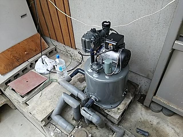 浅井戸用電気井戸ポンプ取替工事 本体取付固定完了後。